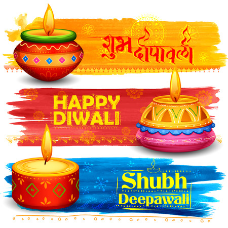 illustration of burning diya on happy Holiday  background for light festival of India with message Shubh Deepawali meaning Happy Diwali Illustration