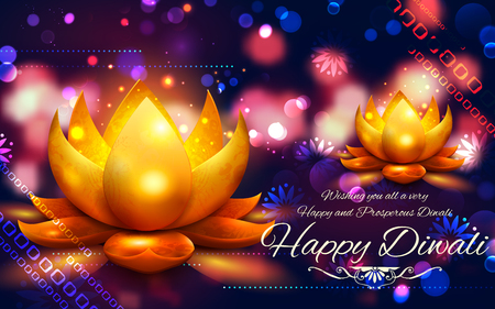 auspicious: illustration of burning diya on Happy Diwali Holiday for light festival of India Illustration