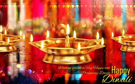 illustration of burning diya on Happy Diwali for light festival of India