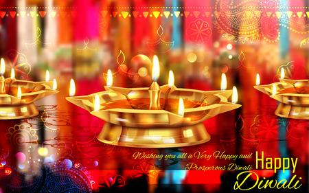 illustration of burning diya on Happy Diwali for light festival of India