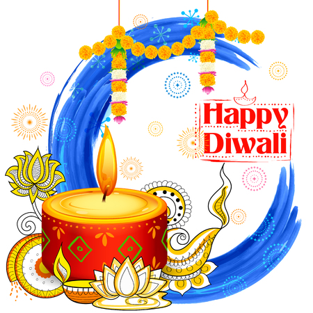 religious event: illustration of burning diya on Happy Diwali Holiday watercolor background for light festival of India