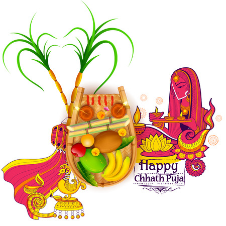 india culture: illustration of Happy Chhath Puja Holiday background for Sun festival of India Illustration