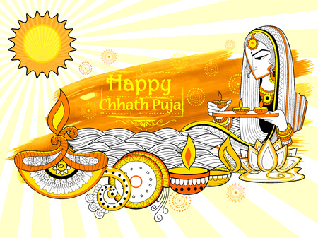 dharma: illustration of Happy Chhath Puja Holiday background for Sun festival of India Illustration