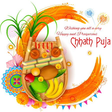 dipawali: illustration of Happy Chhath Puja Holiday background for Sun festival of India Illustration