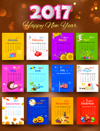 illustration of complete calendar for 2017 showing different holidays