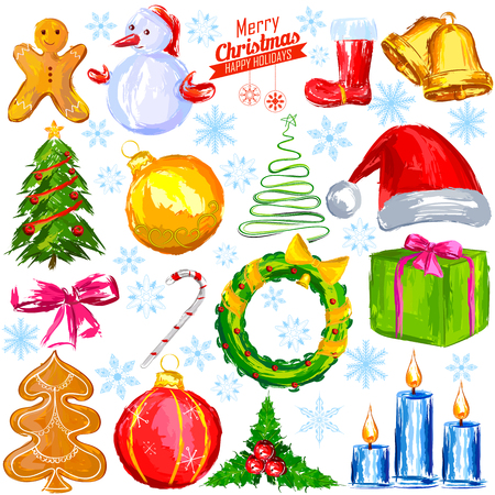 illustration of  Merry Christmas design object with snowman, tree and gift Illustration