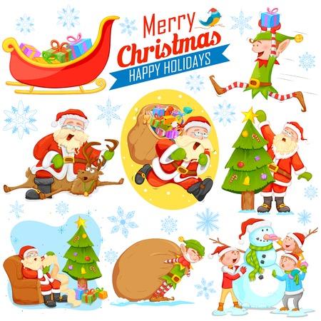 Ilustracja Wesołych Świąt Bożego Narodzenia projektu z Santa Calus, Elf i Snowman