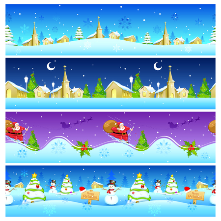 snowy hill: illustration of seamless Christmas Holiday background with Santa and Snowman