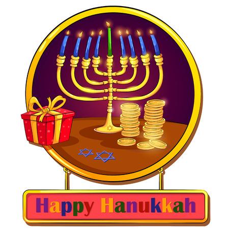 chanukkah: Happy Hanukkah Israel holiday greeting in vector