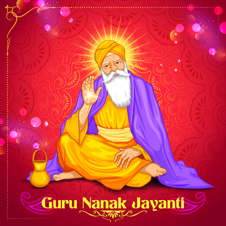 india culture: illustration of Happy Guru Nanak Jayanti festival of Sikh celebration background