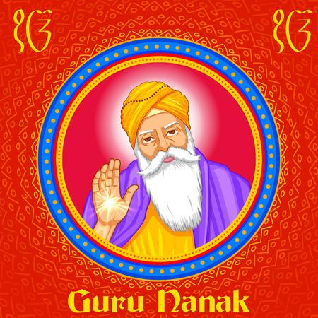 guru: illustration of Happy Guru Nanak Jayanti festival of Sikh celebration background
