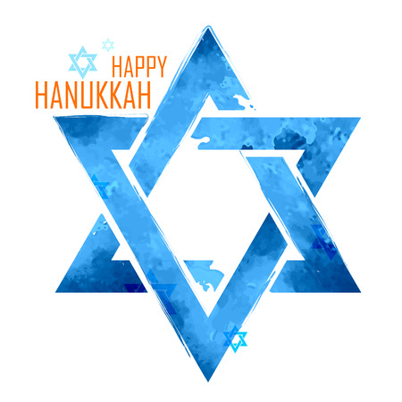 illustration of Happy Hanukkah, Jewish holiday background with hanging star of David Illustration