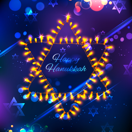 holiday garland: illustration of Happy Hanukkah, Jewish holiday background with light garland arrangement in shape of Star of David