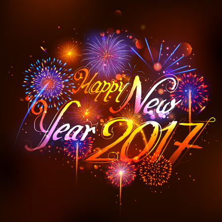 seasons of the year: illustration of Happy New Year 2017 celebration abstract Starburst Seasons greetings background with firework