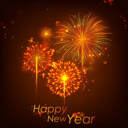 seasons of the year: illustration of Happy New Year celebration abstract Starburst Seasons greetings background with firework