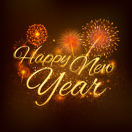 shiny background: illustration of Happy New Year celebration abstract Starburst Seasons greetings background with firework
