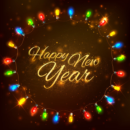 shiny background: illustration of Happy New Year celebration abstract Seasons greetings background with light garland Illustration
