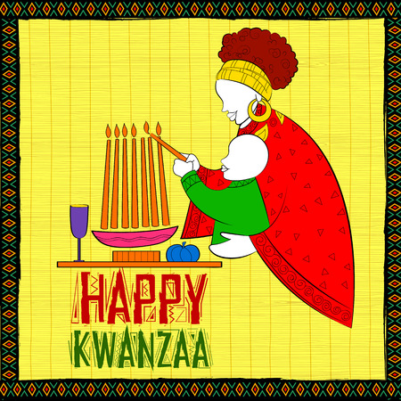 swahili: illustration of Happy Kwanzaa greetings for celebration of African American holiday festival of harvest