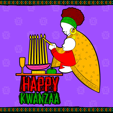 african americans: illustration of Happy Kwanzaa greetings for celebration of African American holiday festival of harvest