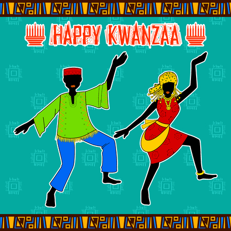 kwanzaa: illustration of Happy Kwanzaa greetings for celebration of African American holiday festival of harvest