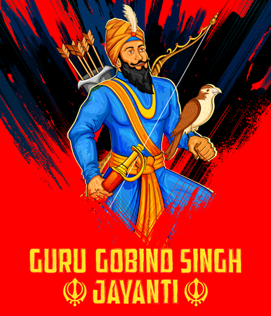 sikhism: illustration of Happy Guru Gobind Singh Jayanti festival for Sikh celebration background