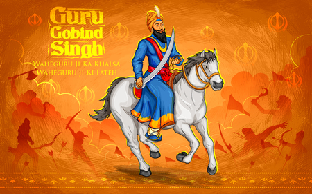 illustration of Happy Guru Gobind Singh Jayanti festival for Sikh celebration background with Punjabi text Waheguru ji ka khalsa Waheguruji ki fateh meaning Wonderful Lord s Khalsa, Victory is to the Wonderful Lord