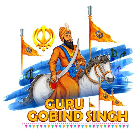 birthday religious: illustration of Happy Guru Gobind Singh Jayanti festival for Sikh celebration background
