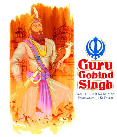 legends: illustration of Happy Guru Gobind Singh Jayanti festival for Sikh celebration background with Punjabi text Waheguru ji ka khalsa Waheguruji ki fateh meaning Wonderful Lord s Khalsa, Victory is to the Wonderful Lord