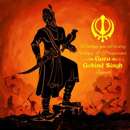 poet: illustration of Happy Guru Gobind Singh Jayanti festival for Sikh celebration background