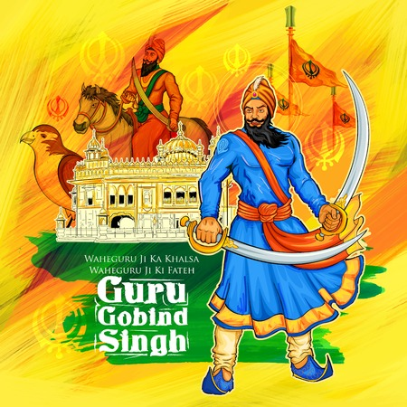 illustration of Happy Guru Gobind Singh Jayanti festival for Sikh celebration background with Punjabi text Waheguru ji ka khalsa Waheguruji ki fateh meaning Wonderful Lord s Khalsa, Victory is to the Wonderful Lord