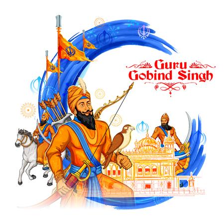 poet: illustration of Happy Guru Gobind Singh Jayanti festival for Sikh celebration background with Punjabi text Waheguru ji ka khalsa Waheguruji ki fateh meaning Wonderful Lord s Khalsa, Victory is to the Wonderful Lord