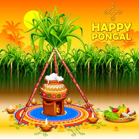 illustration of Happy Pongal greeting background