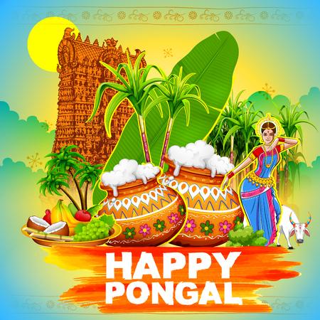 Illustration von Happy Pongal Gruß Hintergrund Standard-Bild - 68056258