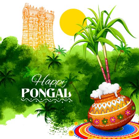 illustrazione di Happy Pongal saluto sfondo