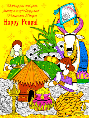 illustration of Happy Pongal greeting background Stock Vector - 68056887