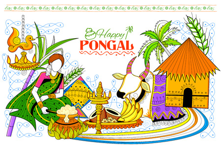 indian traditional: illustration of Happy Pongal greeting background