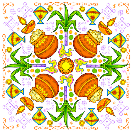 indian happy family: illustration of Happy Pongal greeting background