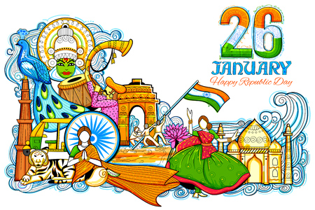 travel collage: Indian background showing its incredible culture and diversity with monument, festival celebration for 26th January Republic Day of India