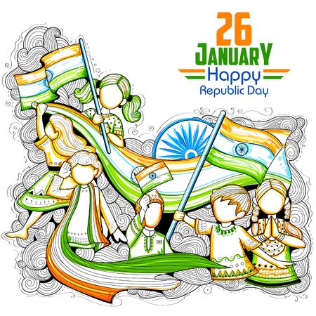 인도 공화국의 날을 축하 삼색 깃발을 흔들며 인도의 아이들 일러스트