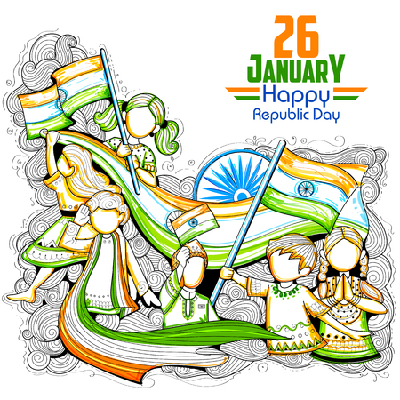 salute: Indian kids waving tricolor flag celebrating Republic Day of India Illustration