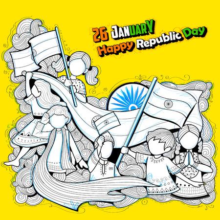republic: Indian kids waving tricolor flag celebrating Republic Day of India Illustration
