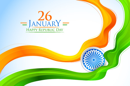Tricolor India banner with Indian flag Illustration