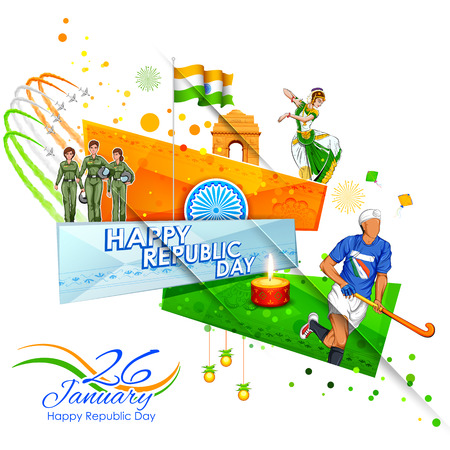 Indian background showing its incredible culture and diversity with monument, dance festival celebration for 26th January Republic Day of India Illustration