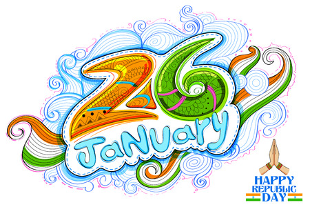 26th: Floral tricolor background for 26th January Happy Republic Day of India Illustration