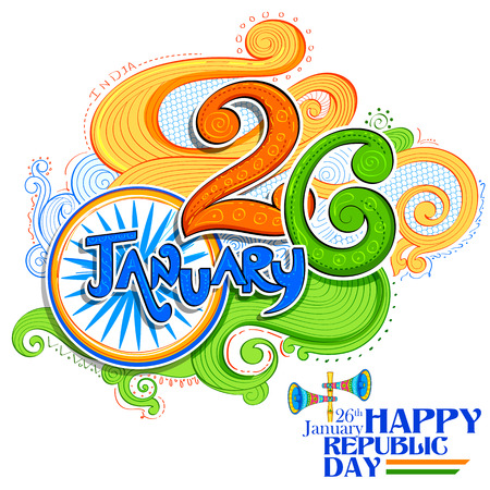 republic: Floral tricolor background for 26th January Happy Republic Day of India Illustration