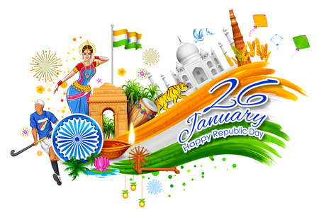 qutub minar: India background showing its incredible culture and diversity with monument, dance festival Illustration