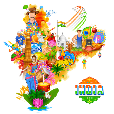 India background showing its incredible culture and diversity with monument, dance festival Ilustrace
