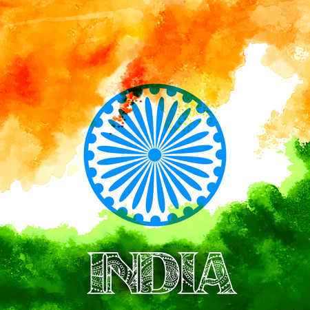 Abstract tricolor Indian flag watercolor background Illustration