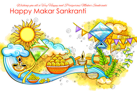 Makar Sankranti wallpaper with colorful kite for festival of India Stock Illustratie