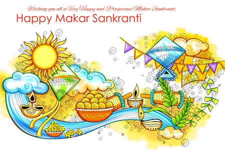 Makar Sankranti wallpaper with colorful kite for festival of India Ilustracja